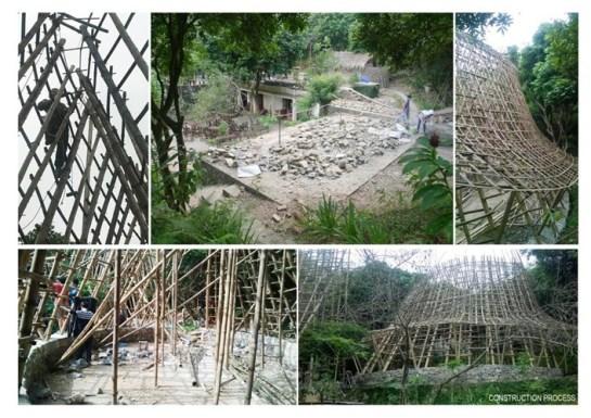 Cette maison vient uniquement des matériels naturels les plus simples à chercher de la région comme bambou (épontille) et palmier (toiture) qui ont été bien triés en vue de se protéger contre les perce-bois.